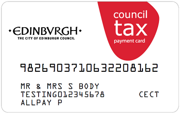 Council tax payment card example
