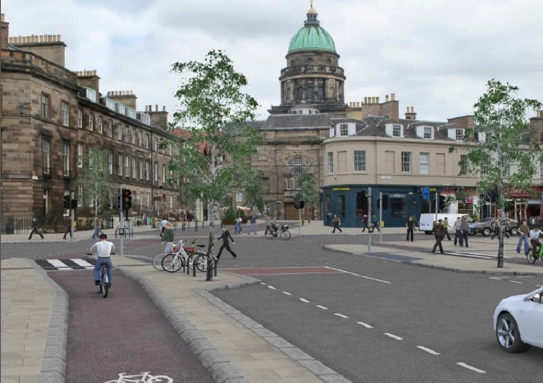 New proposed cycle route on Melville Street/Queensferry Street.
