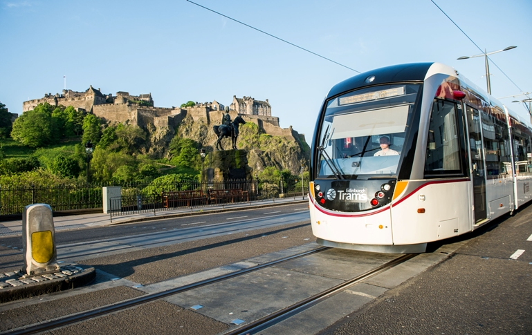 Tram passes Edinburgh Castle