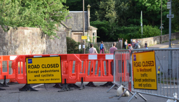 Photograph of road closure at Braid Road to allow for physical distancing during coronavirus situation