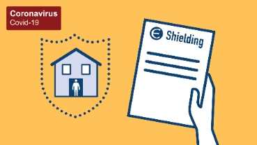 Illustration of person being shielded at home