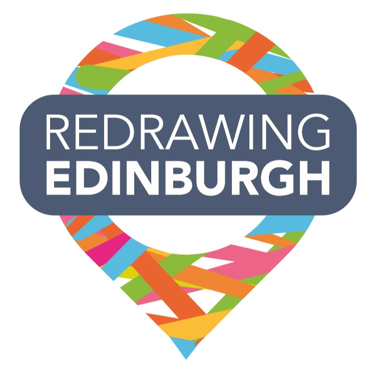 Logo image of a multicoloured marker with a blue title banner saying Redrawing Edinburgh in the middle