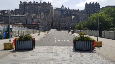 Photo shows temporary road measures on Waverley Bridge to  help keep people safe as lockdown eases