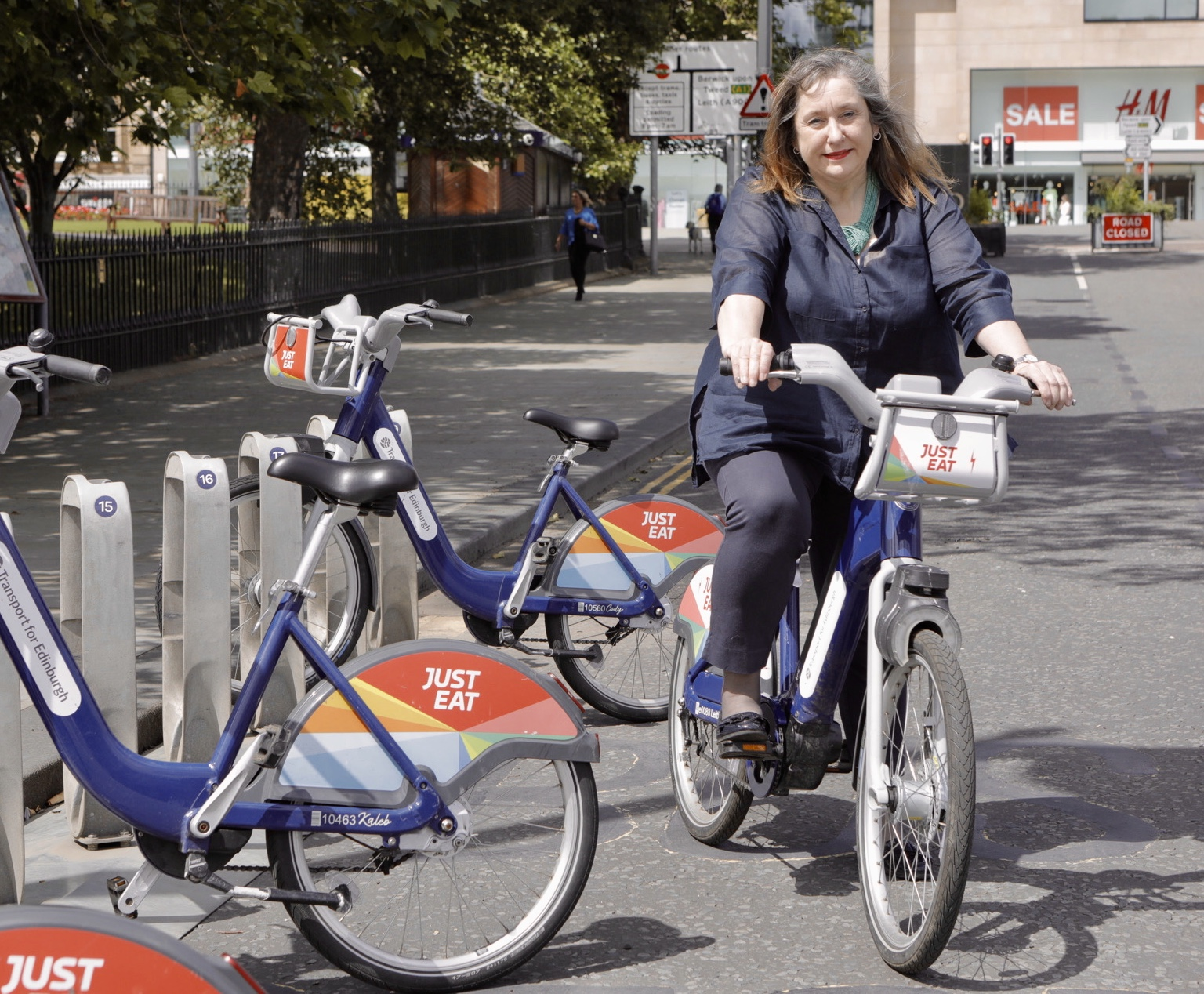 Transport and Environment Convener tries out a hire bike