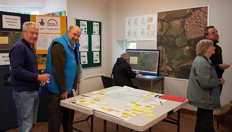 Residents look at proposals and give their feedback for the Cammo Estate restoration project