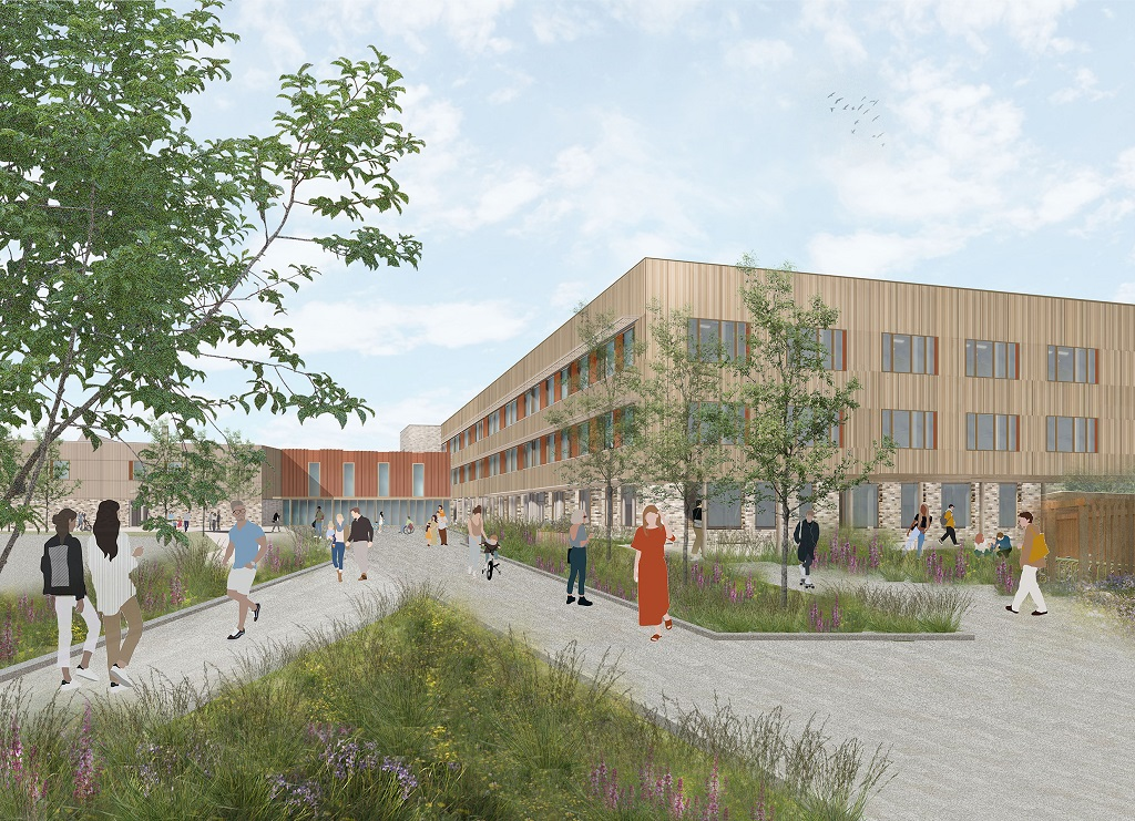 An artist's impression of the new Currie High showing the two storey building with windows lining all visible sides and vertical lines on the outside walls. The entrance way is bordered by floorbeds with wildflowers and young trees.