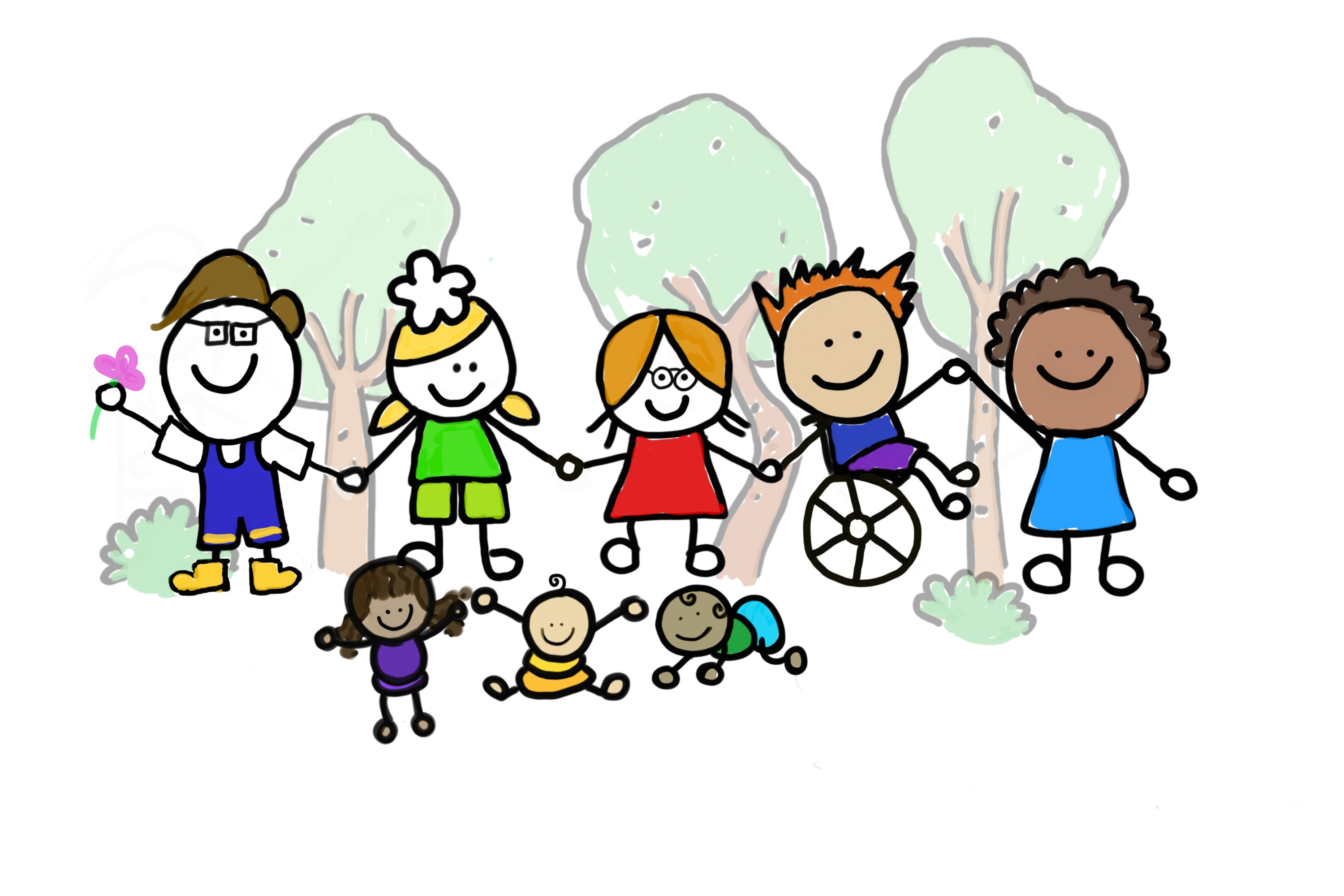 Drawing of group of pre-school children