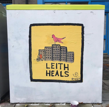 Mural painted by Breeze 13 on a utility box on Leith Walk.