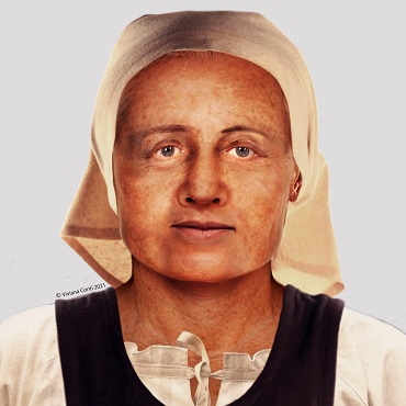 A facial reconstruction of a woman from the human remains found during excavations on the project.